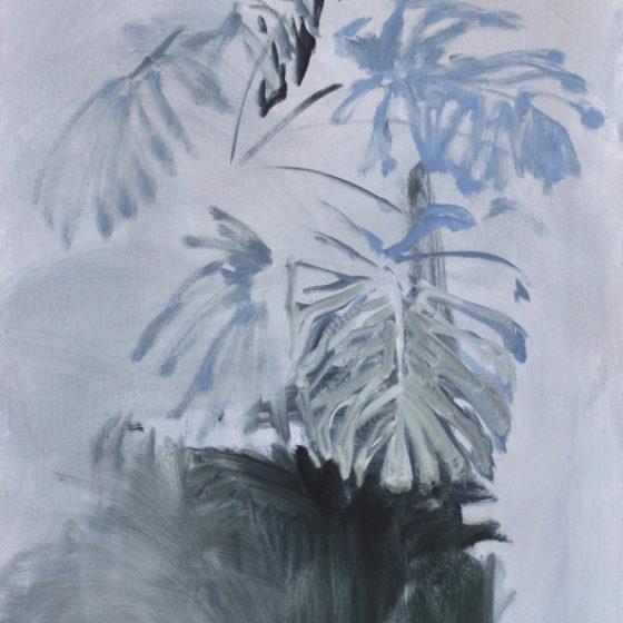 garden proposal nr. 13, monstera deliciosa, 90 x 75 cm, olieverf en acrylverf op linnen, 2017