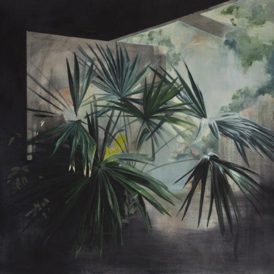 garden proposal nr. 3, palmea, acrylverf en olieverf op doek, 140 x 140 cm , 2017