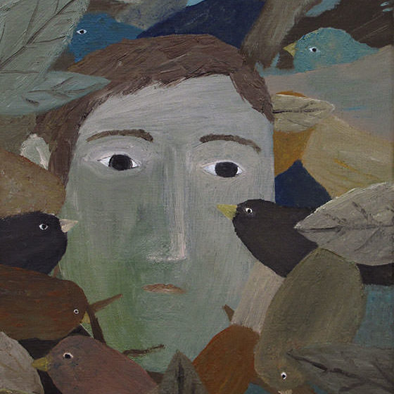 Man Between The Birds, 2018, Oil- and alkydpaint on canvas, 30 x 24 cm