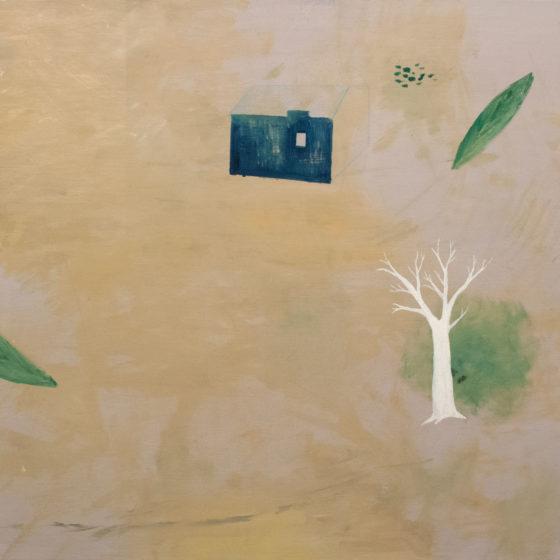 z.t. (blauw huis), 2020, olie-, alkydverf en potlood op doek, 100 x 130