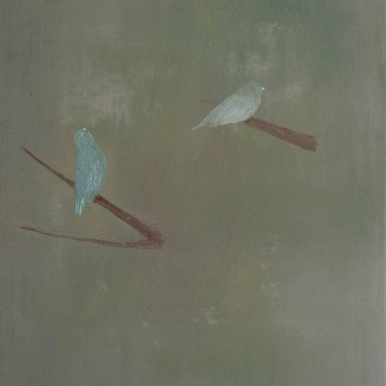 Two birds, 2020, olieverf op doek, 60 x 50 cm