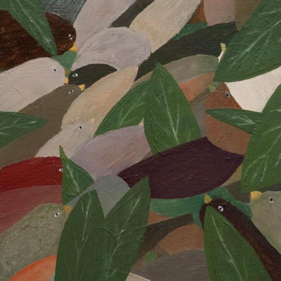 z.t. (vogels 2), 2020, olieverf op doek, 35 x 30 cm