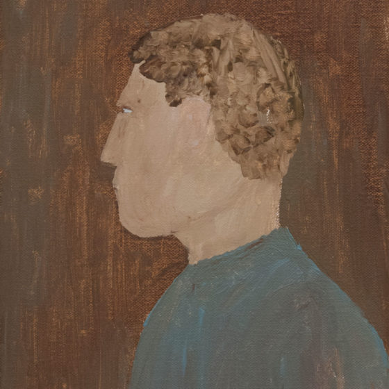 self-portrait (with hair), 2020, olieverf op doek, 25 x 18 cm
