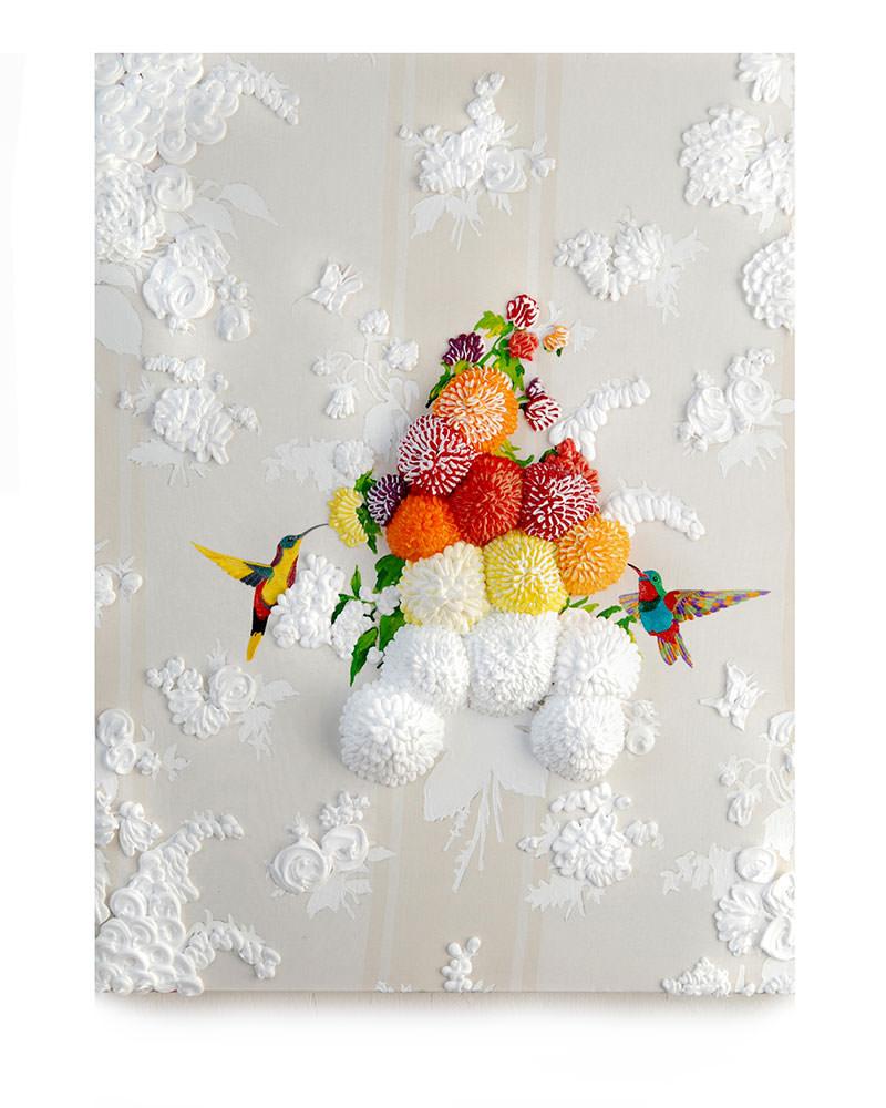 Inspirational Thoughts, acryl en silicone op bedrukte stof, 80 x 60 cm