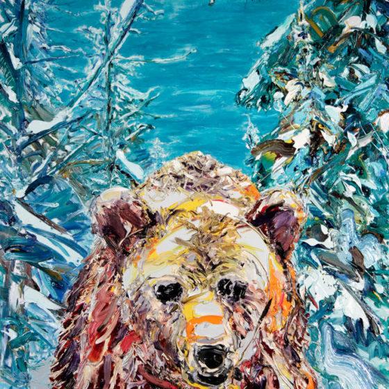 grizzly beer, 160x110 cm, olie op linnen, 2016