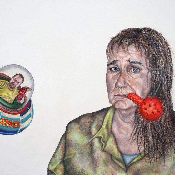 find yourself at the short end, (kleur-) potloden en pastel op papier, 56 x 42 cm, 2018