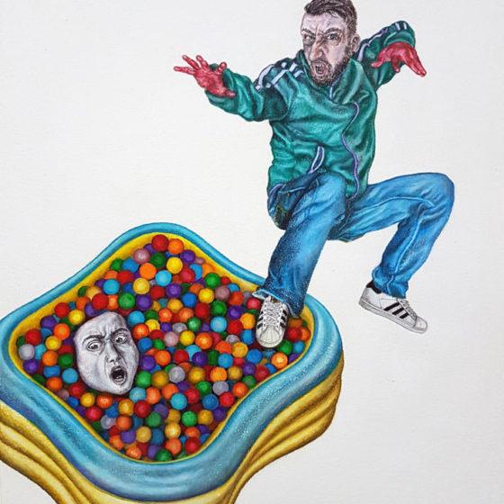 frustrated greeter, (kleur-)potloden en pastel op papier, 29,7 x 42 cm, 2018