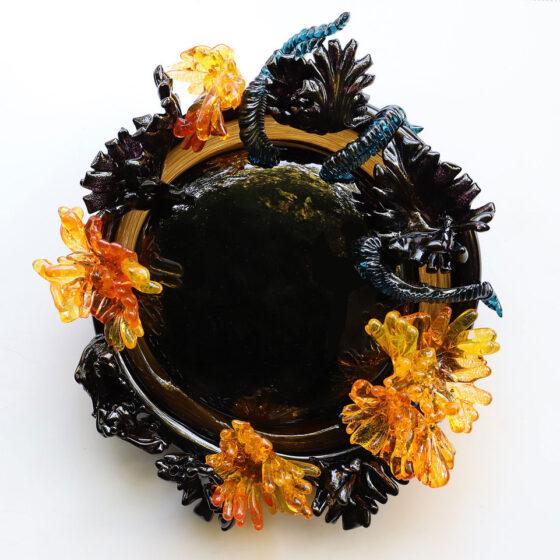 Zwarte spiegel, diameter 40 cm., 2020