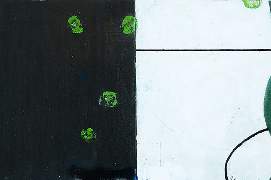 l.b.e.d, olieverf, grafiet op paneel, 30 x 60 cm, 2019
