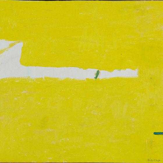 over geel landschap, olieverf op paneel, 30,5 x 35 cm, 2006