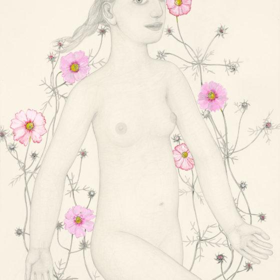 cosmogirl, 2019, potlood en gouache op papier, 76 x 58 cm.