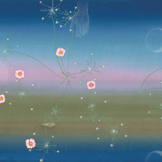 wonderful, 2019, gouache en potlood op papier, 102 x 152 cm. (ontwerptekening voor tapijt)