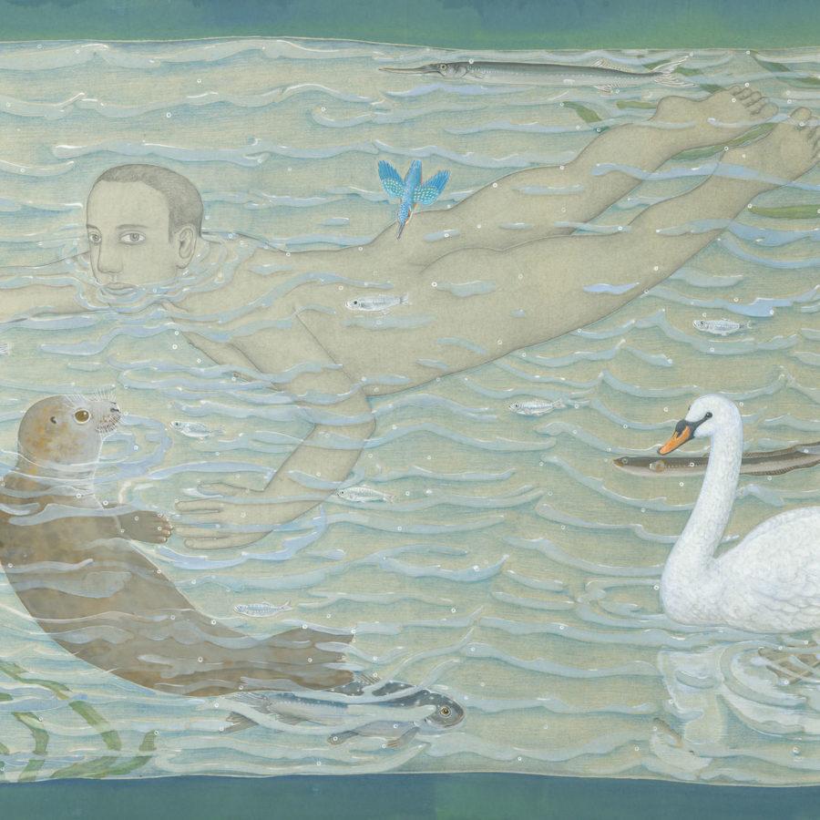 Adam zwemt, 2019, gouache en potlood op papier, 102 x 152 cm. (ontwerptekening voor tapijt)