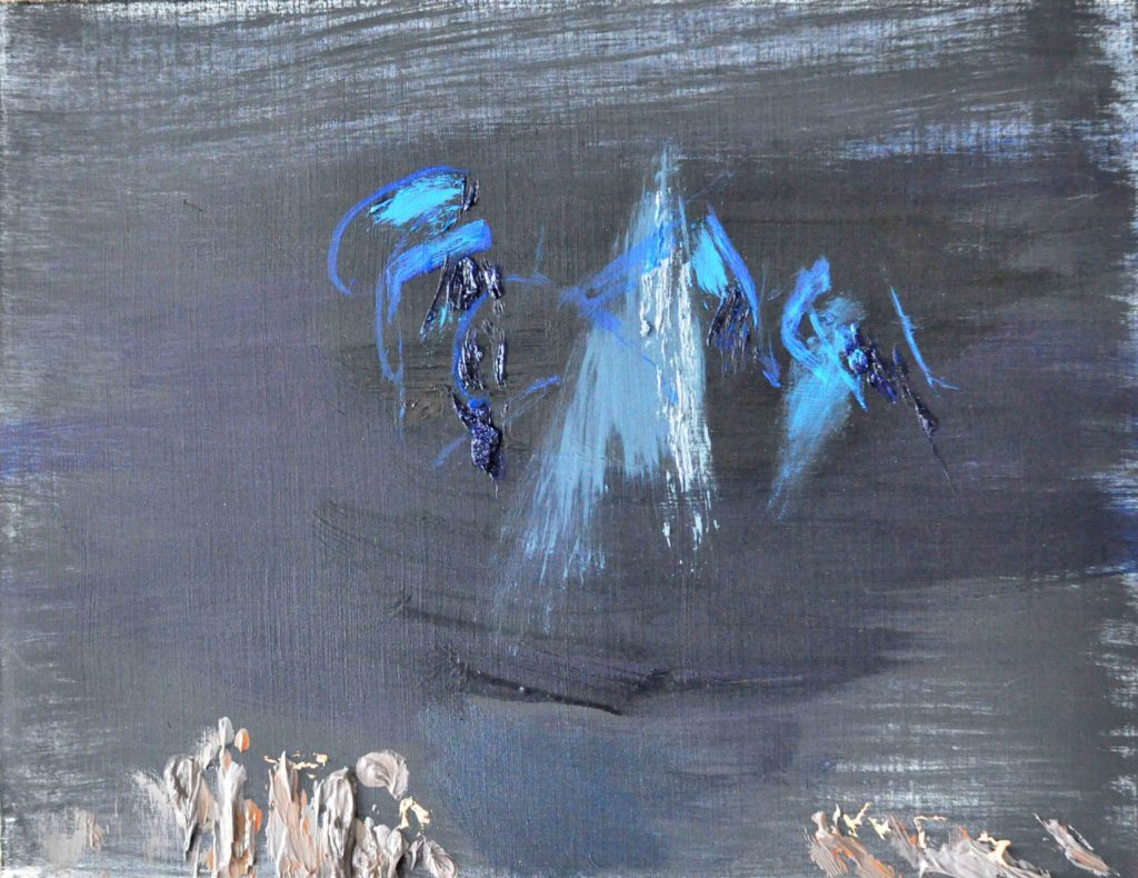 this blueerie night, 32 x 25, olieverf op olieverfpapier, 2016
