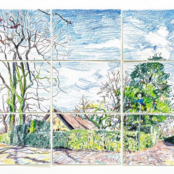 Dorp, 108 x 144 cm, 2018, Olie pastel op papier