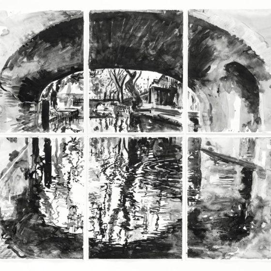 Bridge, 140 x 150 cm., Inkt op papier, 2019