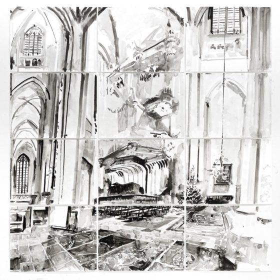 Interior, 200 x 2010 cm., Inkt op papier, 2019
