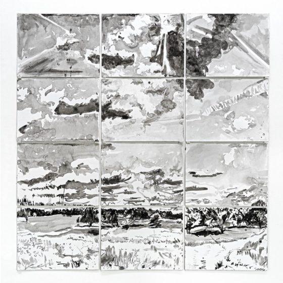 Tafelberg, 144 x 144 cm., Inkt op papier, 2019