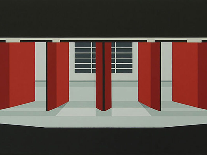 u bahn olympia, 80 x 220 cm, acryl op linnen, 2019