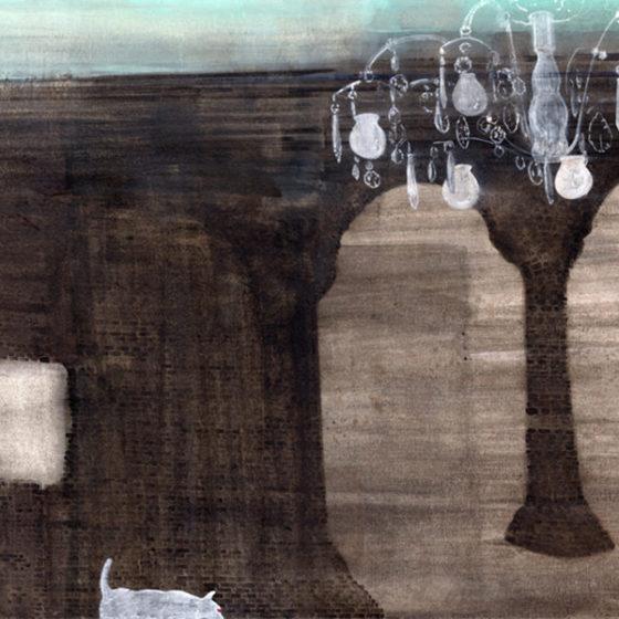 appearing dog, aquarelverf, gouache/papier, 2015, 30 x 40 cm