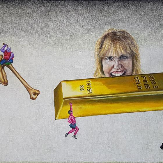 the payback, 2018, (kleur)potloden, acryl en houtskool op papier, 69,5 x 50 cm