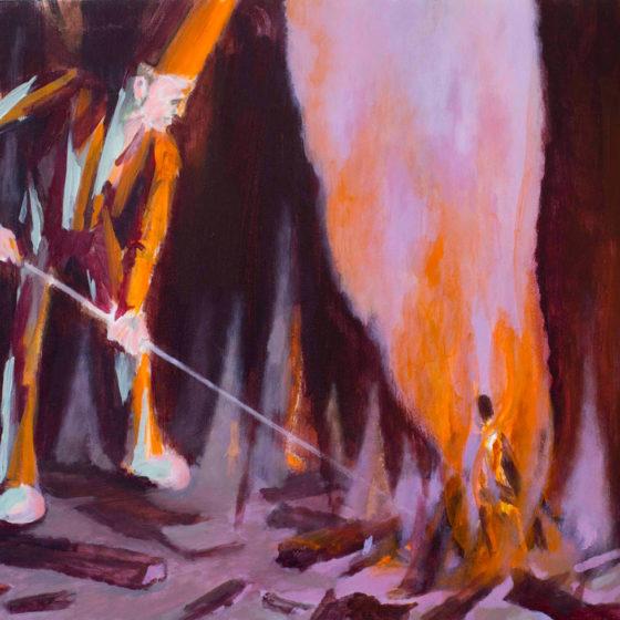 poking the fire, 44 x 45 cm, acryl op paneel, 2018