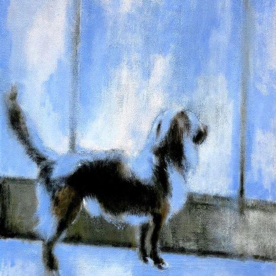 blue dog, acryl op linnen, 50 x 40 cm, 2020