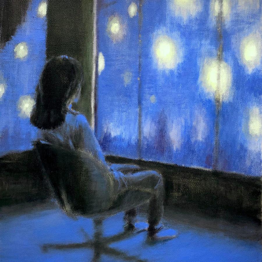 gazing at the stars, acryl op linnen, 50 x 40 cm, 2020