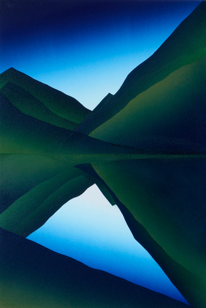 landschap, acryl, epoxy op mdf, 45 x 30 cm, 2018