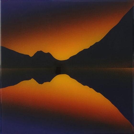 landschap, acryl en epoxy op mdf, 34 x 34 cm