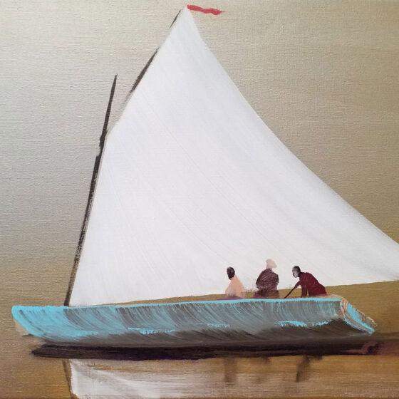 Sailing away, 2020, 50 x 70 cm, acryl/zilververf/doek