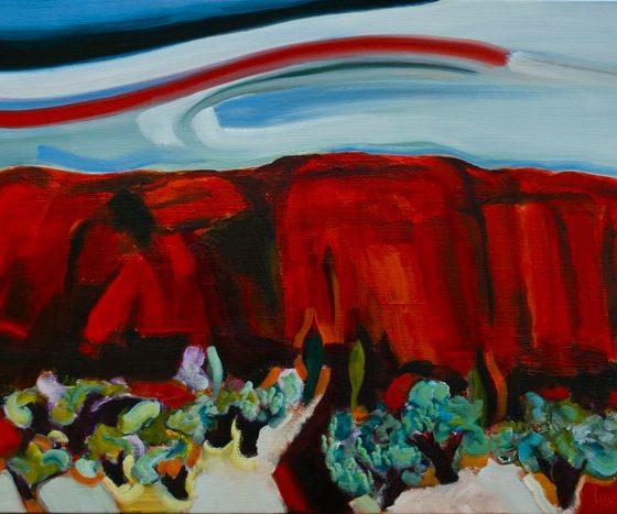 rode aarde, 2014, 73 x 100 cm, acryl-/olie-verf op linnen