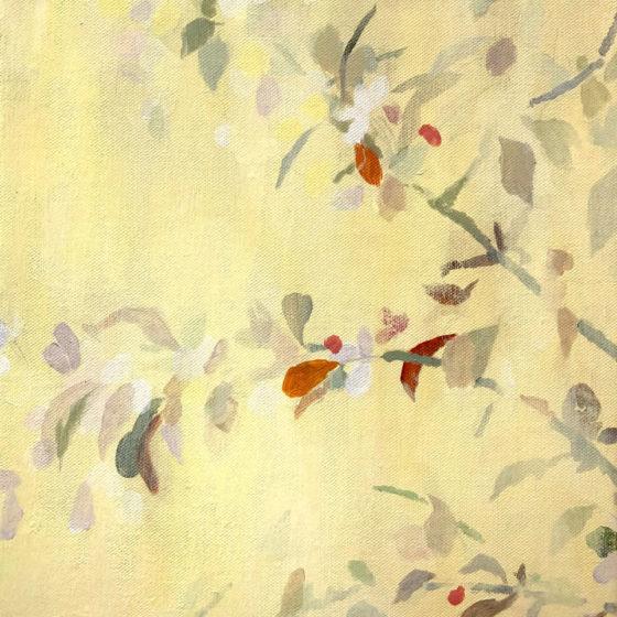 Bomen bloesem, 50 x 40 cm, Acryl op linnen, 2020