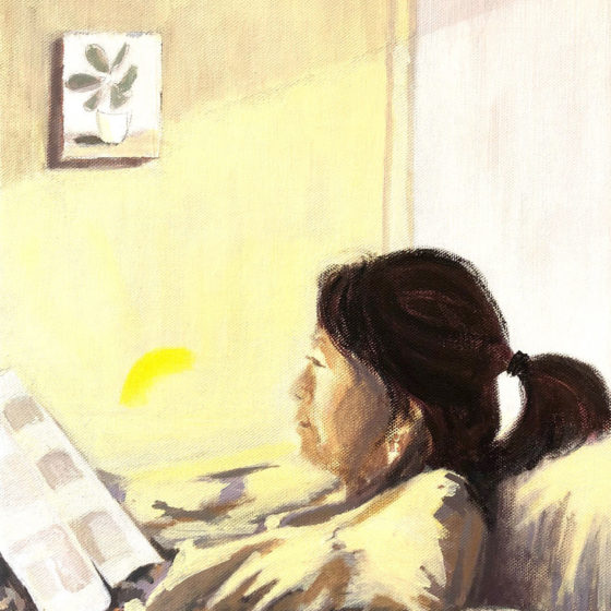 Reading, 50 x 40 cm, Acryl op linnen, 2020