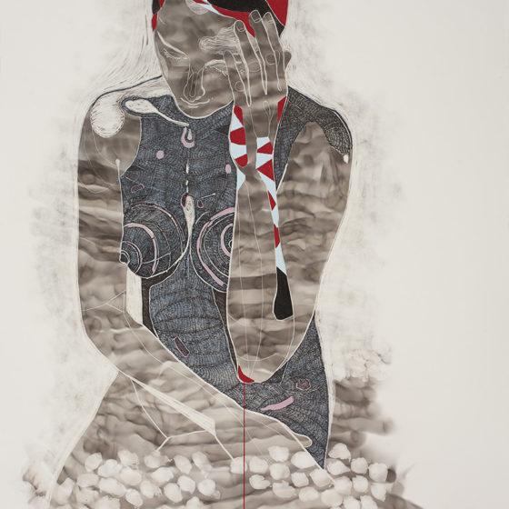 Amae 100, Roet, pigmentinkt, pigmentstift, houtskool, pastelkrijt en zijde op papier, Tekening 64 x 94 cm, Lijst wit 69 x 99 cm, 2017