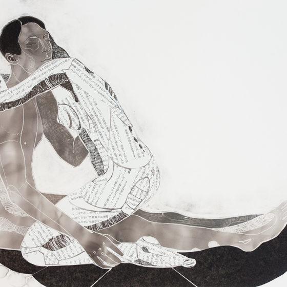 Amae 103, Roet, Japans papier, pigmentstift, houtskool op papier, 35 x 55,8 cm, 2018