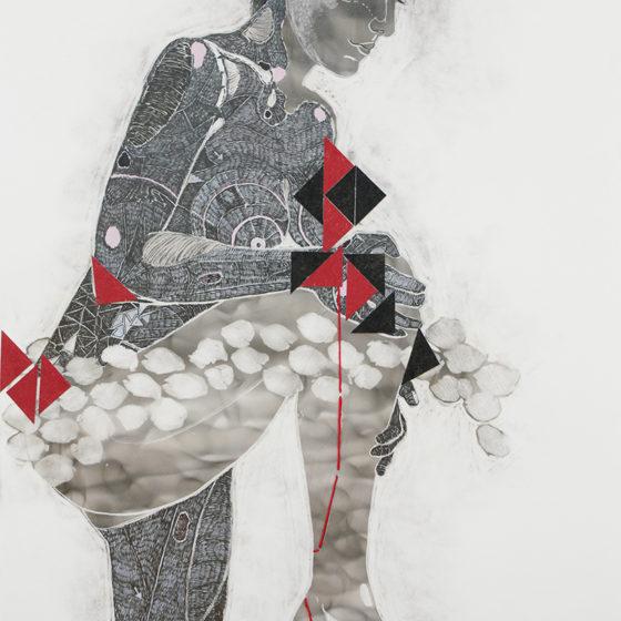 Amae 104, Roet, pigmentinkt, pigmentstift, houtskool, pastelkrijt, zijde op papier, 55,8 x 35 cm, 2018