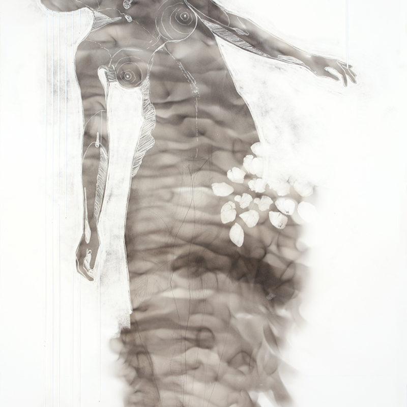 Amae 105, Roet, potlood, pastelkrijt, zijde op papier, 55,8 x 35 cm, 2018