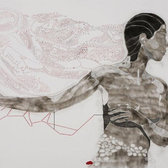 Amae 95, roet, pigmentinkt, pigmentstift, zijde, pastelkrijt, houtskool en bladzilver op papier, 133 x 73 cm, 2017