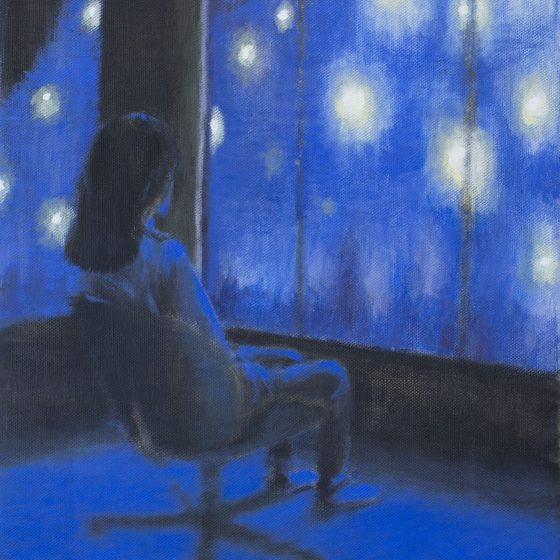 Gazing at the stars, 40 x 50 cm, acryl op linnen, 2020