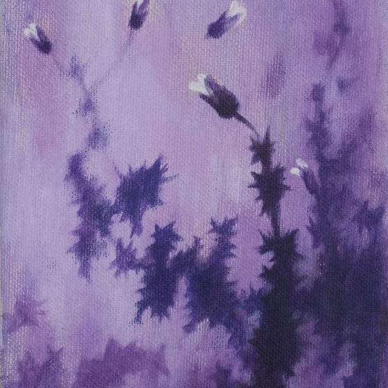 Purple Thistle, 13 x 18 cm, acryl op linnen, 2020