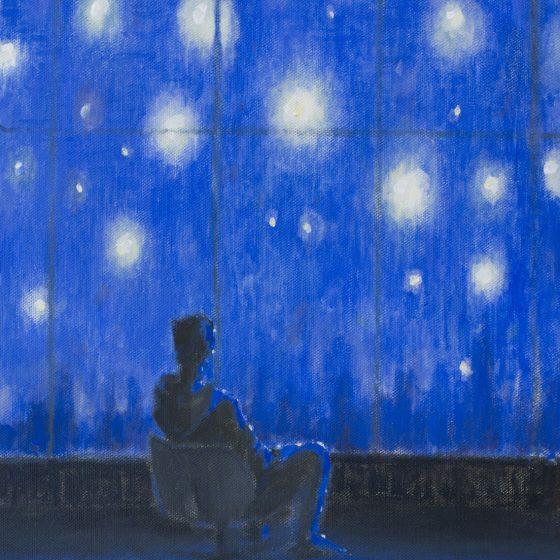 Starry night, 40 x 50 cm, acryl op linnen, 2020