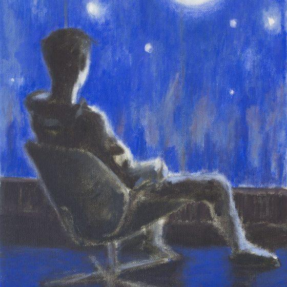 The Moon, 40 x 50 cm, acryl op linnen, 2020