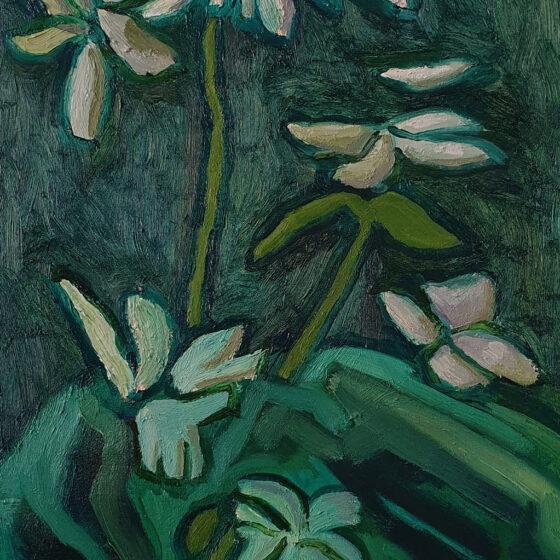 Zonder titel (flower 3), Olieverf op doek, 40 cm x 30 cm, 2020
