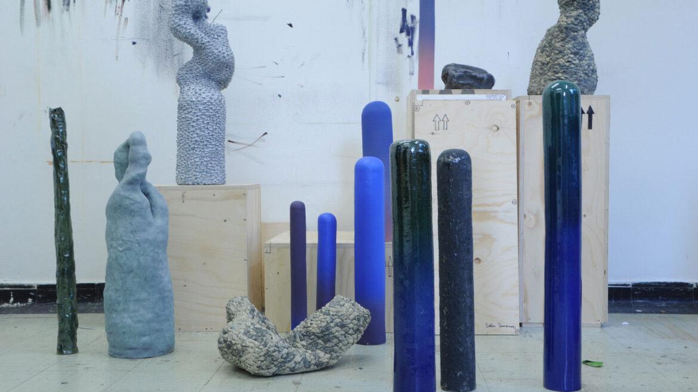 1. Overzicht installatie 'Bodies for possible landscapes' in het atelier