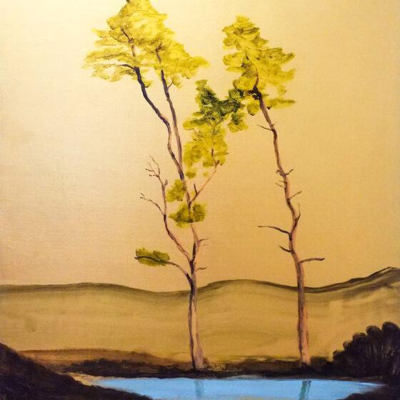 Golden hour, 2020, 120 x 100 cm, acryl/goudverf/doek