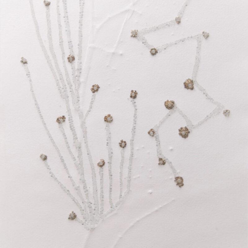 A.G., 2020, 50 x 32,5 x 0,3 cm, Glasparels op reliefdruk