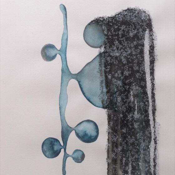 Cocy Blue, 2020, 50 x 40 x 0,6 cm, Aquarel en glasparels