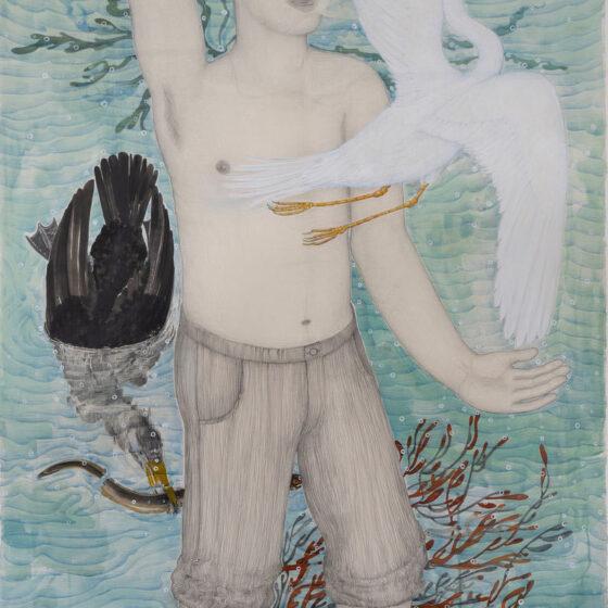 Z.T., 2020, potlood en gouache op papier, 101 x 67 cm.