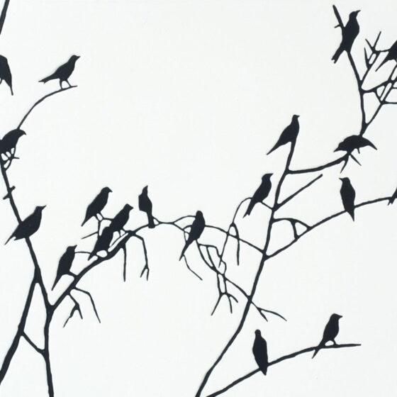 Crows , acryl op mdf, 30 x 40 cm